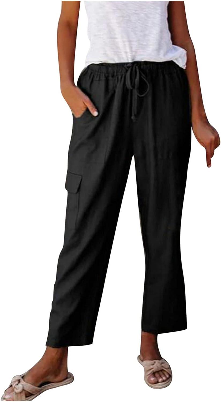 JINRS Linen Pants for Women Tightness Trousers Pocket Casual Plus Size Stretch Palazzo Drawstring Bottoms Wide Leg Pants