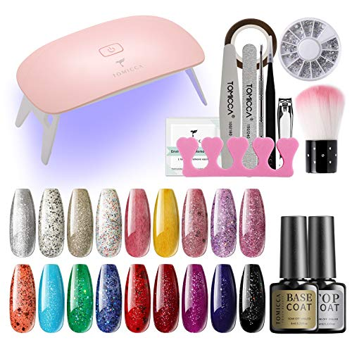 TOMICCA Gel Nail Polish Starter Kit Set with 6W Portable Mini UV LED Light,18 Sparkle Colors Soak...