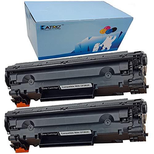 KATRIZ Cartuchos de tóner de Repuesto CF283A 83A Compatible para HP Laserjet Pro MFP M201n MFP M125a MFP M125nw MFP M125rnw MFP M127fs MFP M127fw MFP M127fn MFP M225dn MFP M225dw (2 Negro)
