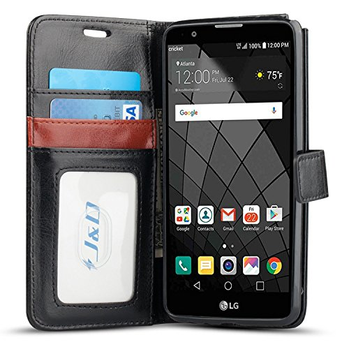 J&D Case Compatible for LG Stylus 2/LG Stylo 2/LG Stylo 2V/LG Stylo 2 Plus Case, [Wallet Stand] [Slim Fit] Heavy Duty Protective Shockproof Flip Cover Wallet Case for LG Stylo 2 Stylus 2 Wallet Case