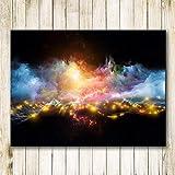 N / A Paisaje Abstracto Fuegos Artificiales y Cuadros de Pared de Humo para Sala de Estar Decoración del hogar Imprimir Sin Marco 24X30 cm