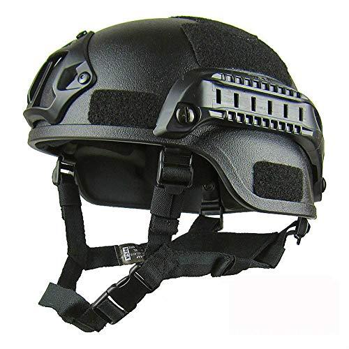 Viktion Militär-Stil Gefechtshelm Paintball-Helme Taktischer Helm Schutzhelm mit Halterung für Nachtsichtgerät und Seitenschiene für Softgun Paintball-Waffe (Schwarz)