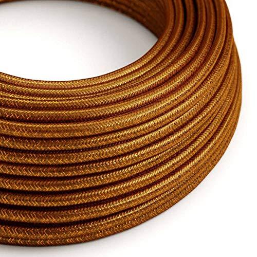 creative cables Textilkabel geflochten, Kupfer Glitzer Seideneffekt, RL22-5 Meter, 3x0.75