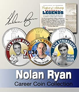 Baseball Legend NOLAN RYAN US Statehood Quarter Colorized 3-Coin SetLicensed