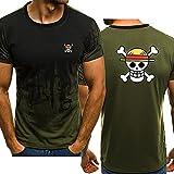 Hombre Camisetas de Manga Corta Sport tee Tops - 3D Monkey D. Luffy Casual Unisexo Degradado Camisas de Golf de Tshirts Trabaja Deportes Camiseta - Regalos para Adolescentes,Verde Degradado,XXL