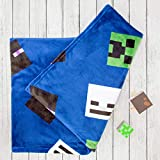 Minecraft Official Creeps Fleece Throw   Creeper Design Super Soft Blanket   Perfect for Any Bedroom, 100cm x 150cm Blue