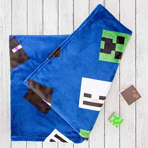 Minecraft Offizieller Creeps Fleece-Überwurf, Creeper Design, super weiche Decke, perfekt für jedes Schlafzimmer, blau
