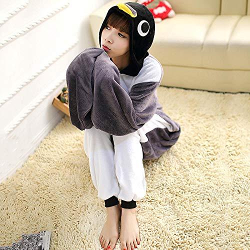 NF Pyjama Adulte Anime Gris Pingouin Kigurumi Onesie Costume Mignon pour Femmes Hommes drôle Chaud Doux Animal Onepieces vêtements de Nuit Maison vêtements Fille-Manchot_L