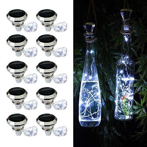 AJIC Solar Wine Bottle Lights 2M 20 LEDs Solar String Fairy Light Outdoor Waterproof Solar Diamond Cork Lights for Party Christmas Wedding Center Table Decoration (Color : White)