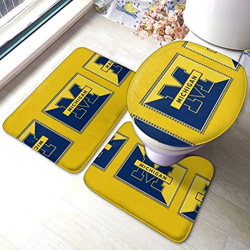 Mi-Chigan Wo-Lverines - Juego de alfombrillas de baño y alfombrilla de inodoro en forma de U con adhesivo antideslizante para suelo, bañera, ducha, dormitorio, lavable a máquina, 3 piezas