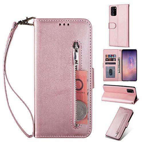 Miagon für Samsung Galaxy Note 20 Ultra Handyhülle,PU Lederhülle Magnetverschluss Kartenfächern Standfunktion Brieftasche Flip Wallet Case Cover mit Reißverschluss