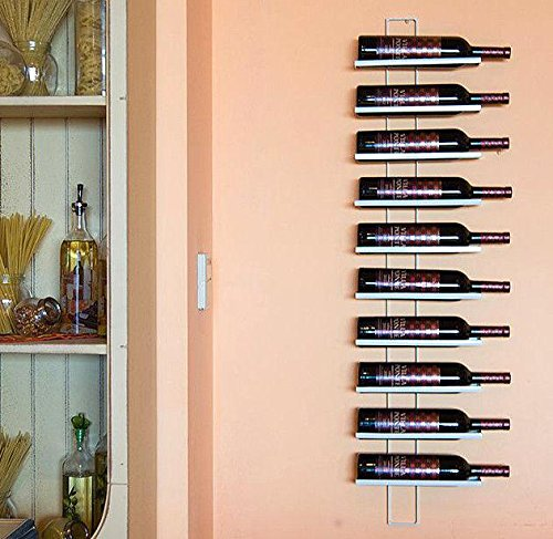 Scaffale Vini Dies White 116 cm in Metallo per 10 Bottiglie Supporto Bottiglie Scaffale a Parete Porta Bottiglie