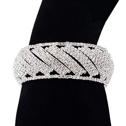 Happyyami Hochzeit Diamant Armband Strass Armreifen Schmuck Kristall Armband (Weiß)