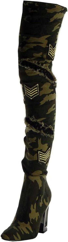 Angkorly - Damen Damen Schuhe Oberschenkel-Stiefel Stiefel - Flexible - Reitstiefel Kavalier - Biker - zerrissene - Fischnetz Schuh - Camouflage Blockabsatz high Heel 10.5 cm  Rabattverkäufe
