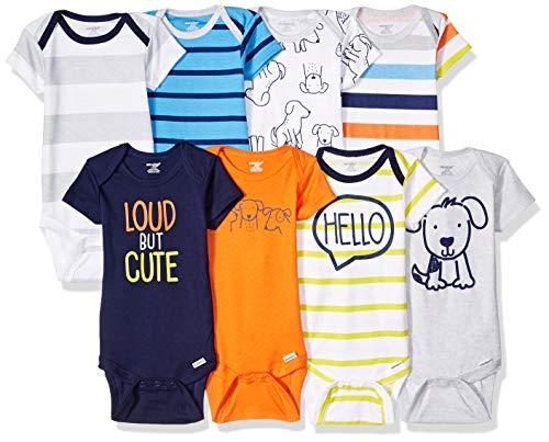 Onesies Brand Baby Boys' 8-Pack Short Sleeve Mix & Match Bodysuits, Loud Cute Dog, 0-3M