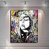 ganlanshu Cartel de Retrato de Arte Abstracto de Graffiti Callejero e impresión en Lienzo para Pintura de decoración de Sala de Estar,Pintura sin Marco,30X40cm