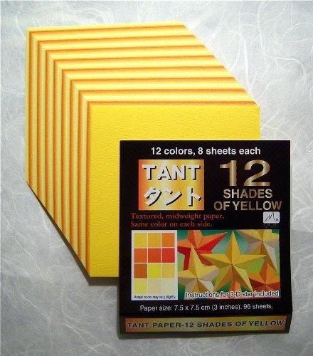 Toyo Origami, Zelt, Gelb, 15 cm x 15 cm, 12 Farben, je 4 Stück