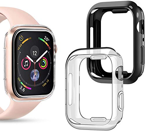 wlooo Apple Watch 44mm Series 6/5/4/SE Hülle, (2 Stück) 360° Rundum Weiche TPU Bumper Silikon Schutzhülle HD Ultradünne Stoßfest Schutz Case Cover für iWatch Serie 6 SE 5 4 (44mm, Transparent+Schwarz)