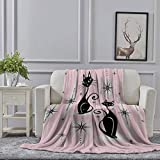 Ellekiwi Flannel Blanket Mid Century Meow Retro Atomic Cats LGstudioxtine Plush Fluffy Warm Soft Bed/Sofa Blankets and Throws for Queen and King Size - 51 x 59in