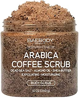 Baebody Arabica Coffee Scrub - With Dead Sea Salt, Olive Oil, and Shea Butter. Exfoliator, Moisturizer Promoting Radiant Skin 10 fl oz.