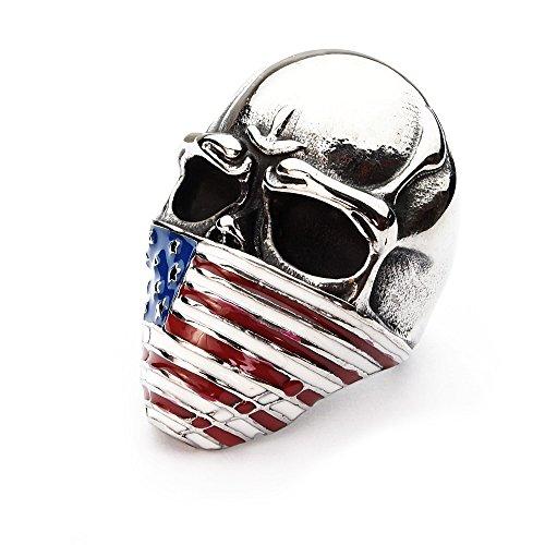 Miss - E - Jewels Anillo de calavera Hooligan de acero inoxidable plateado para hombre, motero, punk, gótico, bandera de Estados Unidos, tamaño: U, 10, 23, 63