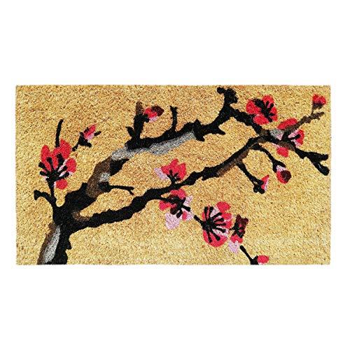 Banzaii Paillasson – Tapis d'entrée en Fibre de Coco 40x70 cm et Base en PVC Antidérapant Imprimé et Coloré – Fleur de Cerisier