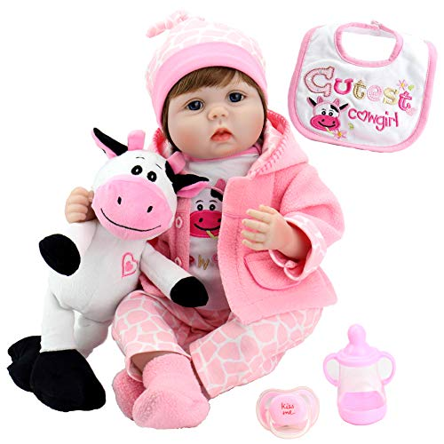 Aori Lifelike Realistic Reborn Baby Dolls 22 Inch Real Looking Weighted Reborn Doll with Pink Clothes and Cow Toy Accessories Best Birthday Set for Girls Age 3