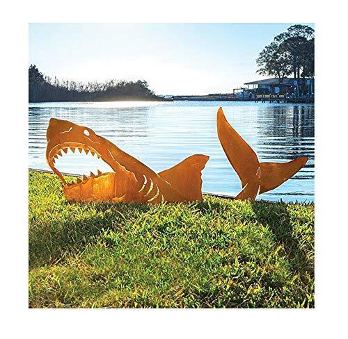 PANGF Land Shark - Gartenfiguren im Freien Dekor, Garten Kunst im Freien für Frühling Sommer Garten Dekor, Meer Dekor, Rasen, Hof Kunst Dekoration, Einweihungsparty Geschenk für Freunde der Familie