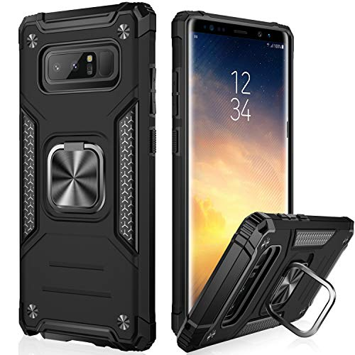 IKAZZ Samsung Note 8 Case,Galaxy Note 8 Cover Dual Layer Soft Flexible TPU and Hard PC Anti-Slip Full-Body Rugged Protective Phone Case with Magnetic Kickstand for Samsung Galaxy Note 8 Black