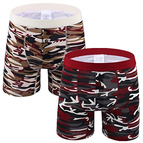 HaiDean Set van 2 boxershorts voor heren, camouflage, casual boxershort, lange pijpen, katoen, onderbroek onder warmte, zachte comfort, onderbroek, open fly retroshorts