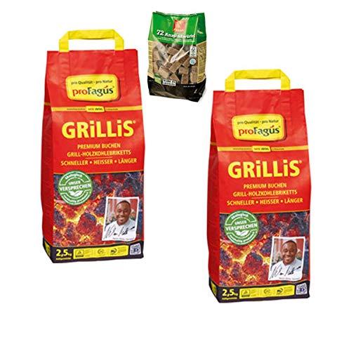 proFagus Grillis 2,5 kg - Holzkohlebriketts (2er Set + 1x Grillanzünder!)