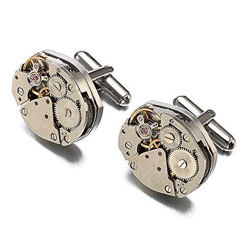 GCDN Vintage Runde Messing Silber Herren Manschettenknöpfe Silber Steampunk Uhrwerk Festival einzigartiges Jubiläum High-End-Bekleidungszubehör Valentine Geschenk