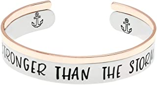 Clover Encouragement Gift God is Within Her She Will Not Fail Message Hand Stamped Cuff Godmother Gifts for Goddaughter. Ms
