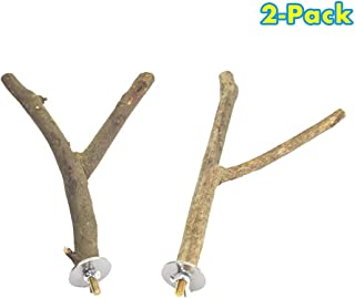 GNB PET 2 Pack Bird Perch Parrot Natural Wood Fork Stand Perch, Birdcage Stands Platform Pet Bird Toys with Stainless Steel Washers