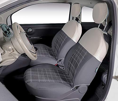 CORA 000129376 Coprisedili anteriori personalizzati Fiat 500 07> tess. cotone scozzese grigio e poliestere grigio/panna