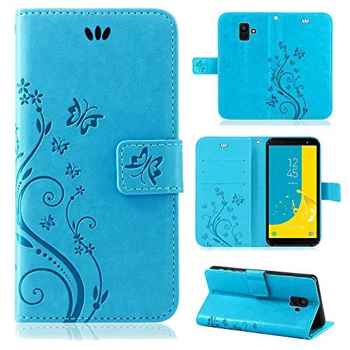 betterfon | Flower Case Handytasche Schutzhülle Blumen Klapptasche Handyhülle Handy Schale für Samsung Galaxy J6 2018 SM-J600 Blau