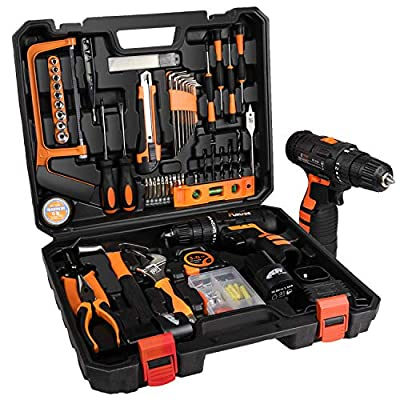 jar-owl Tool Kits 16.8V Cordless Drill Lithium Lon with 91 Piece Tool Set Combination Package and Plastic Toolbox Storage Case from jar-owl