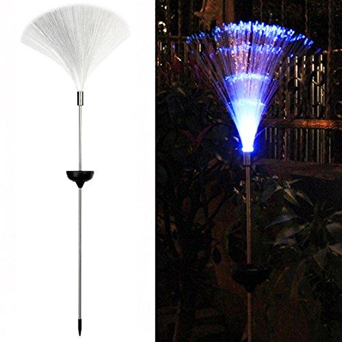 LNIMIKIY 2 Stück Solar-Faser-Lichter, solarbetrieben, wechselnde Glasfaser-Lichter – für Garten Bordüre Weg Terrasse Dekoration