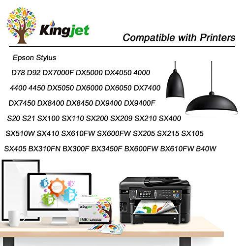 Kingjet Compatible Cartuchos de Tinta reemplazo para Epson T0711 T0712 T0713 T0714 para Epson Stylus SX218 SX515W DX4000 DX4400 DX7400 DX8400 SX115 SX205 SX215 SX405 SX210 (16 Paquete)