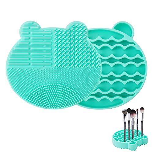 Silicone Makeup Brush Cleaning Mat, MOMSIV 2 in 1 Cosmetic Brush Cleaner Mat Brush Cleaner Pad with Brushes Drying Holder Brush Scrubber Mat Bear Shaped Portable Washing Tool - Green