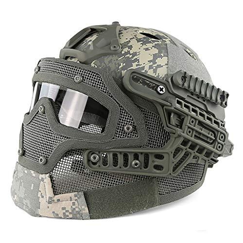 DZLXY Tactical Fast Helm Paintball Shooting Beschermhelm met gehoorbescherming Opvouwbare Half Face Mesh Maskerbril Steel Mesh Full Mask Set