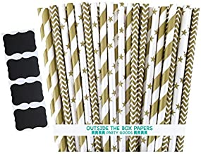 Outside the Box Papers Gold Chevron, Stars and Stripe Paper Straws 7.75 Inches 75 Pack Gold, White