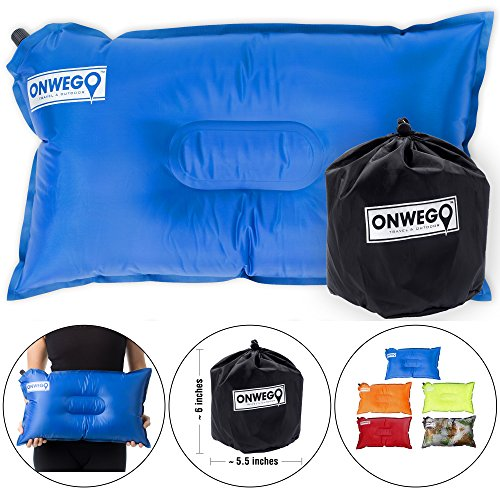 ONWEGO Camping Pillow/Inflatable Air Pillow- 20in x 12in, 10.5oz, Self Inflating, Compressible- Best for Outdoor Trips, Backpacking, Hiking, Beach, Travel, Motorcycle, Car