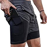 Surenow Mens Running Shorts,Workout Running Shorts for Men,2-in-1 Stealth Shorts, 7-Inch Gym Yoga Outdoor Sports Shorts Grey