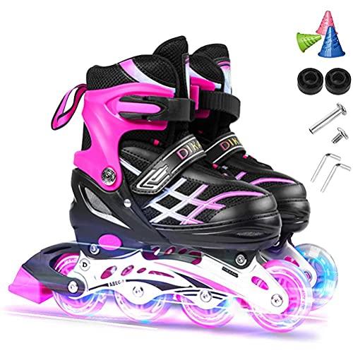 Ghzste Inline Skates, Rollschuhe in Einstellbarer Größe mit 8 Leuchtenden Rädern, Atmungsaktive Fitness Inline Rollschuhe, Inline Rollschuhe im Freien für Erwachsene, Kinder, Anfänger