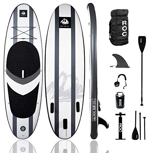 Roc Inflatable Stand Up Paddle Boards W Free Premium SUP Accessories & Backpack, Non-Slip Deck Bonus Waterproof Bag, Leash, Paddle and Hand Pump Youth & Adult