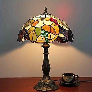 Lampe de table Lampe de table de chevet de chambre à coucher en verre teinté européen rétro noir et vert éclairage de cham...