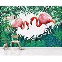 Iusasdz 3D壁紙幾何学的な三角形のカラーブロックフラミンゴ熱帯植物花テレビ背景壁の壁紙3Db-350X250Cm