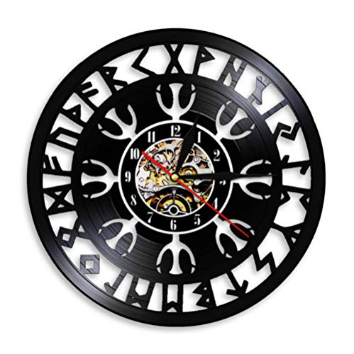 YANGSHUANG Handmade Vinilo Pared Reloj Escritura Antigua Reloj de Pared de Vinilo Reloj de Pared de Arte Creativo Hecho a Mano, Movimiento de Cuarzo silencioso, diámetro 30 cm