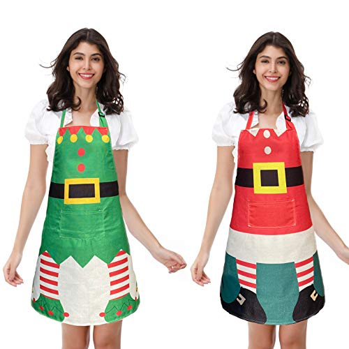 DaDailyValley 2PACKS Christmas Elf Apron and Santa Claus Apron for Xmas Party Costume Supplies Kitchen, Elf&Santa Claus Style B